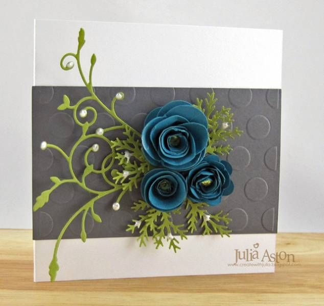 3D flowers die from Sizzix, Madera Corner die and small pinwheel posie from Memory Box, and Polka Dots embossing folder from Life Style Crafts!    I used Liquid Pearls on the foliage and added rhinestones to the centers of the flowers.
