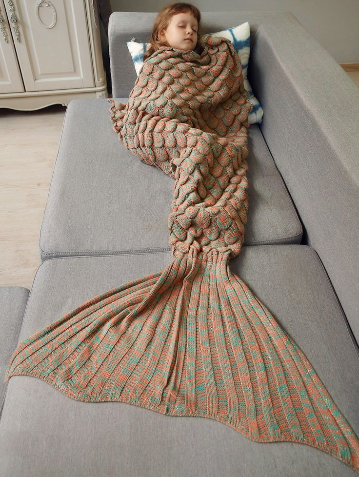 Knitted Fish Scales Design Wrap Mermaid Blanket For Kids
