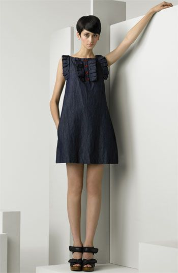 See by Chloé Ruffle Trim Denim Dress available at #Nordstrom