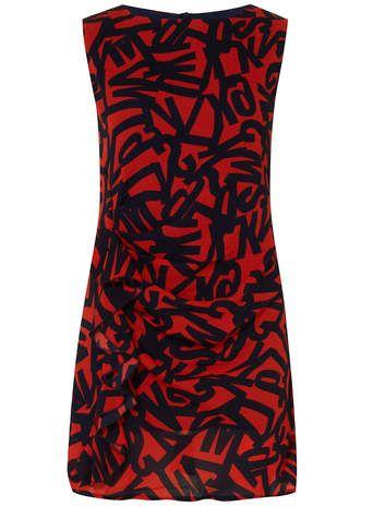 Red Letter Print Dress