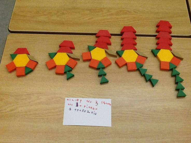 Growing patterns with pattern blocks.