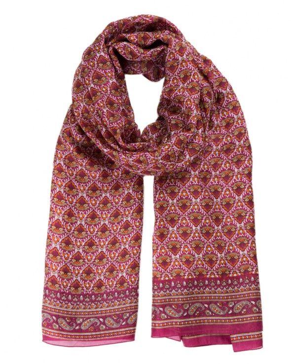 Modèle MAIA sari cherry 100% soie, foulard soie femme, imprimé dominante  rouge, Etyo. 78cec747833