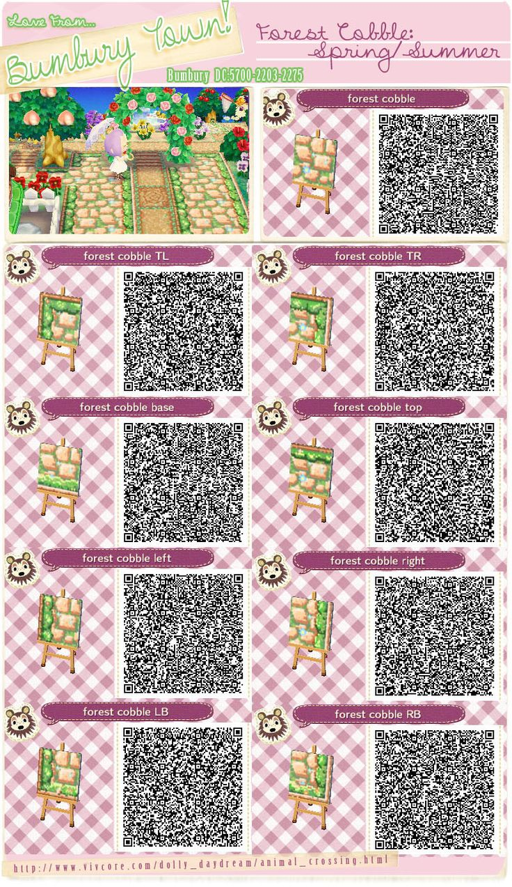 Animal crossing new leaf qr codes bumbury lawn forest cobble animal