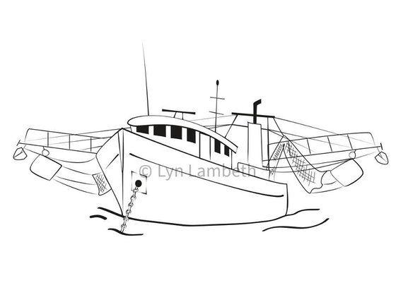 Shrimp Boat Clipart Instant Download Hand Drawn Digital