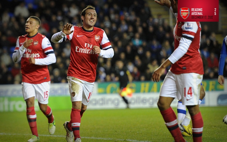 Reading 2-5 Arsenal.     Santi Cazorla celebrates his hat-trick at Reading