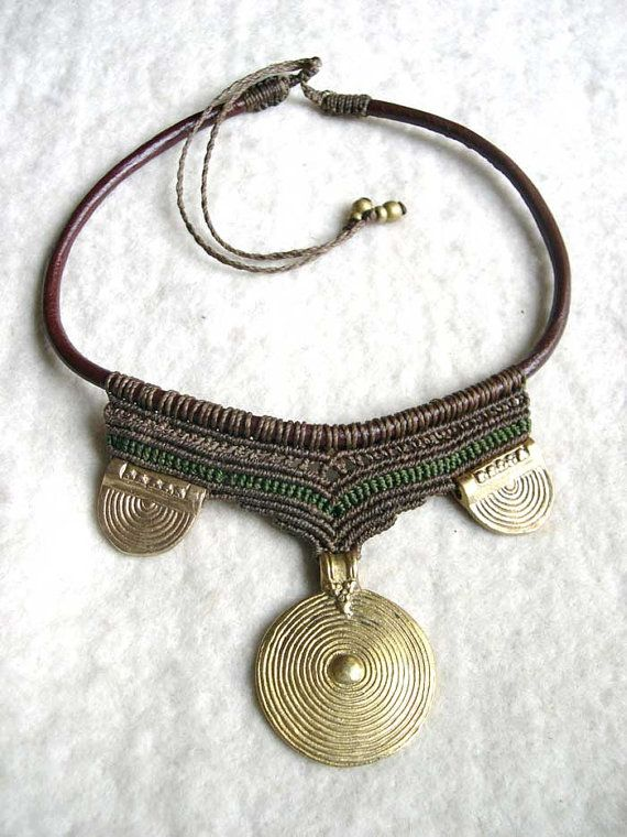Brass Spiral Tribal Necklace Macrame Collier Choker Collar Brown Earth MADE TO ORDER