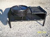 Dutch Oven Table: 26x14x12in. Removable grill and weighs about 38lbs. made from 1/8th inch steel.