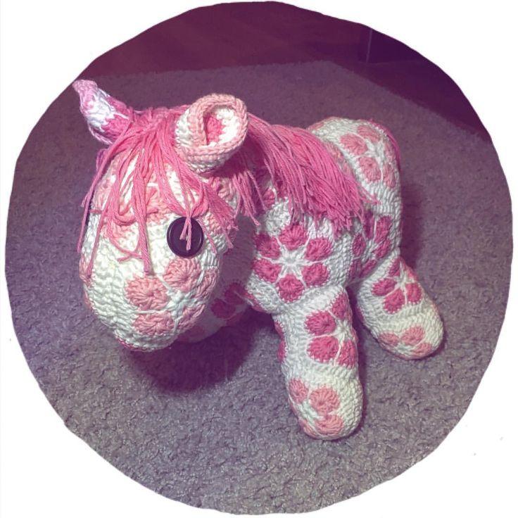 Ihahahahaha! African flowers ;). Crochet and animal :p. Horse.