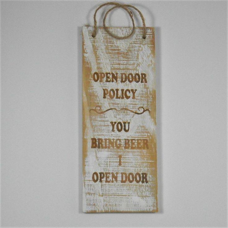 Open Door Policy Funny Sign