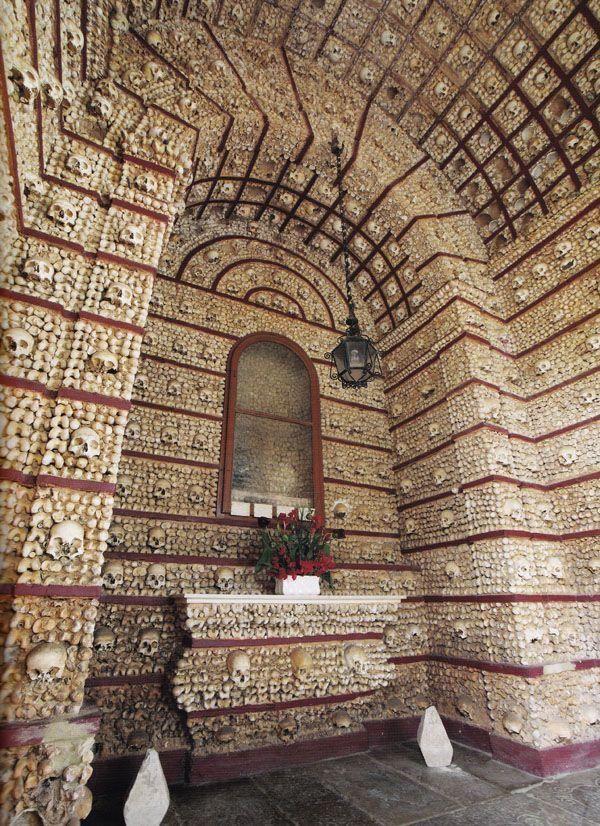 The Chapel of Bones is in the Church of Nossa Senhora do Carmo in Faro, Portugal.