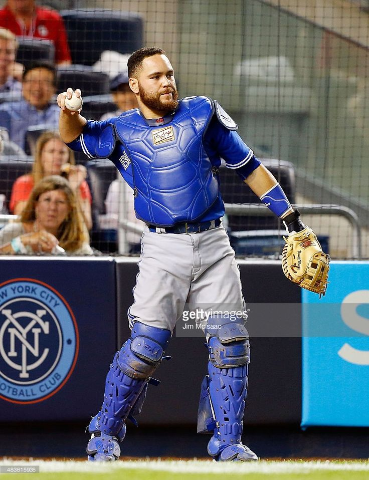 Russell Martin #55 of the Toronto Blue Jays in action against the New York Yankees at Yankee Stadium on August 7, 2015 in the Bronx borough of New York City. The Blue Jays defeated the Yankees 2-1 after ten innings.