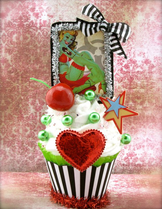 Etsy の Zombie Pin Up Girl Fake Cupcake Decor by 12LegsCuriosities
