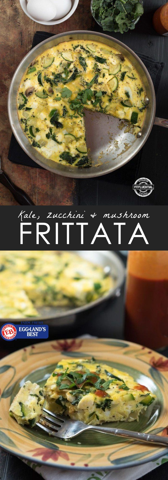 The perfect healthy recipe for breakfast! Kale, zucchini and mushroom egg frittata.