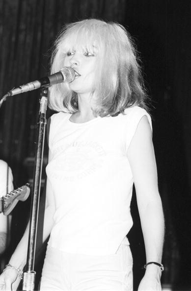 Singer Debbie Harry of the New Wave pop group 'Blondie' performs onstage in February 1977 in Los Angeles California