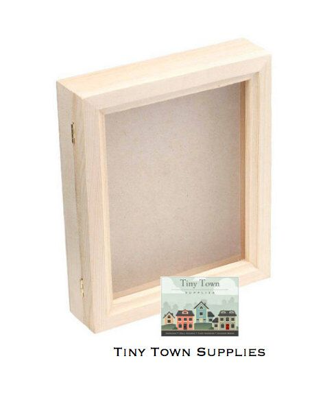 Hinged Glass Top Shadowbox, Bare Wood Shadow Box with Glass Hinged Lid by TinyTownSupplies on Etsy https://www.etsy.com/listing/197568252/hinged-glass-top-shadowbox-bare-wood