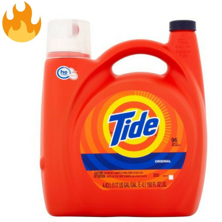 HOT! HUGE Tide Detergent 150 oz Bottle ONLY $9.97 TODAY ONLY!    HOT! HUGE Tide Detergent 150 oz Bottle ONLY $9.97 TODAY ONLY! Right now Home Depot has this HUGE bottle of Tide Detergent 150 oz Bottle for ONLY $9.97 (reg. $18.97)! Select free store pickup to avoid shipping fees.   	Designed for HE (high efficiency) washers  	Whiteness booster keeps... http://www.savingsaplenty.com/hot-huge-tide-detergent-150-oz-bottle-9-97-today/
