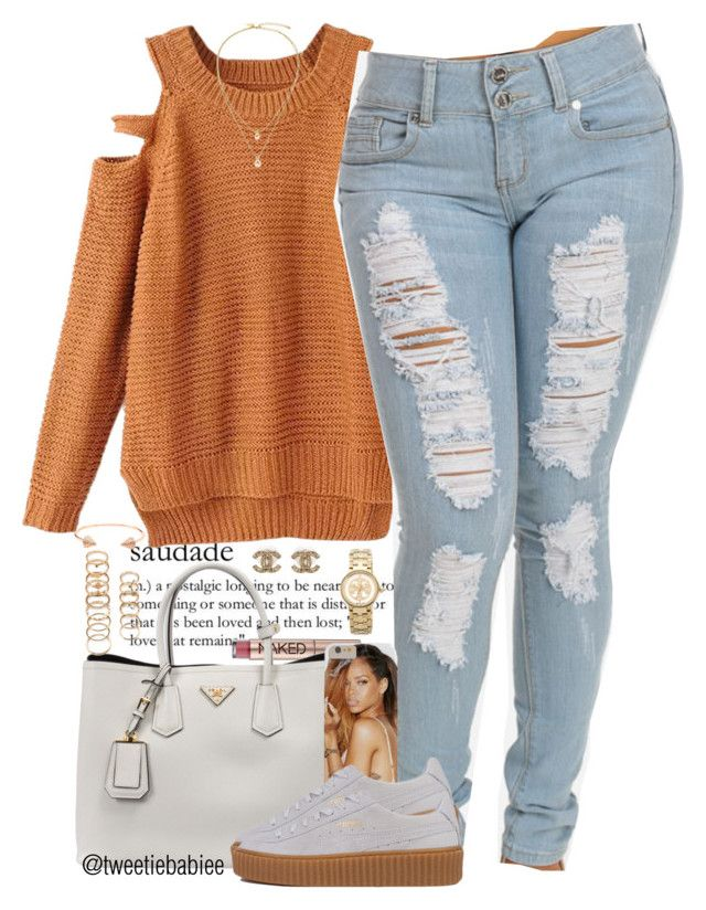 """""""Creepin' ."""" by tweetiebabiee ❤ liked on Polyvore featuring Urban Decay, Prada, Puma, Chanel, Forever 21, Tory Burch, CC SKYE and Kate Spade"""