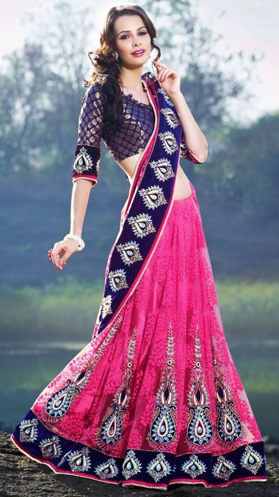 $173.13 Pink Net Resham and Stone Work A Line Wedding Saree 24547