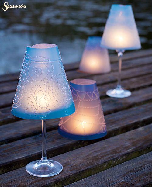 """Die Sachenmacher """"SaMaShiko-Gläserschirmchen"""" machen jedes #Glas zum #Windlicht…"""