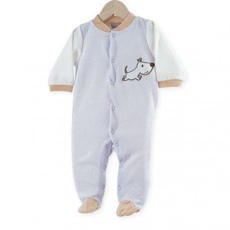 "Pijama ""Bob"" #pijama #bebe #niño #reciennacido #bob #perro #azul #marron #blanco #kinousses"