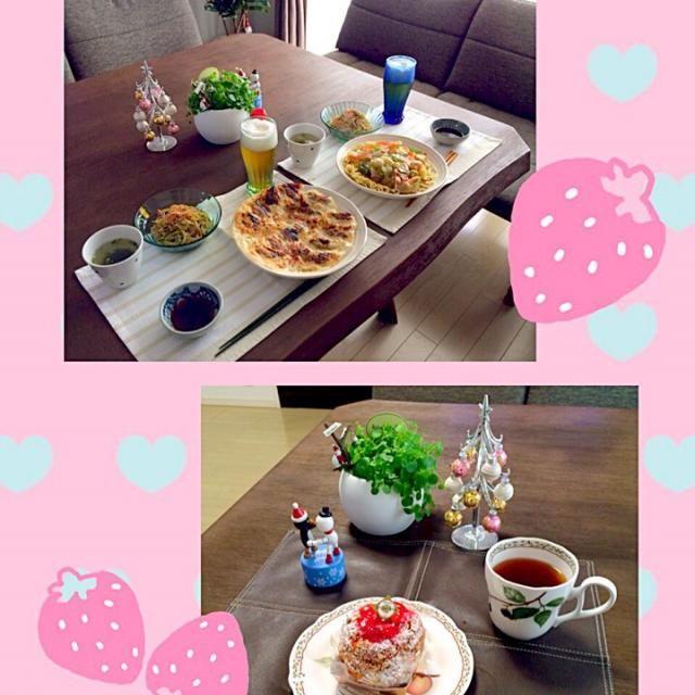友達が遊びに来てくれたから今日は中華ランチだよ 手土産に可愛いを買ってきてくれたよ。メッチャ美味しかったぁ - 15件のもぐもぐ - 海鮮揚げ焼きそば、焼き餃子、春雨中華サラダ、わかめスープ、ビール、                   イチゴのシューケーキ、アップルティー by pentarou