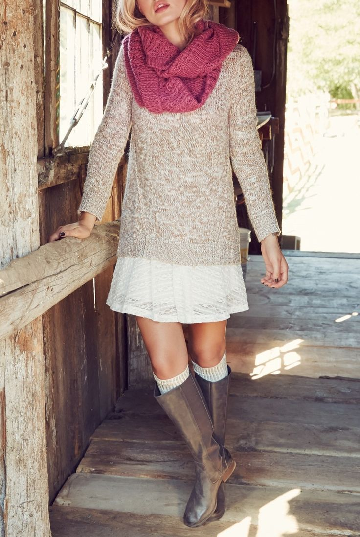 Layer it up with knits, scarves and boots.