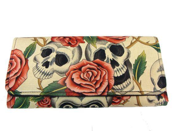 Pink Rose Tattoo | Wallet Skulls Pink Roses Tattoos Skeleton Handmade Biege Color ...