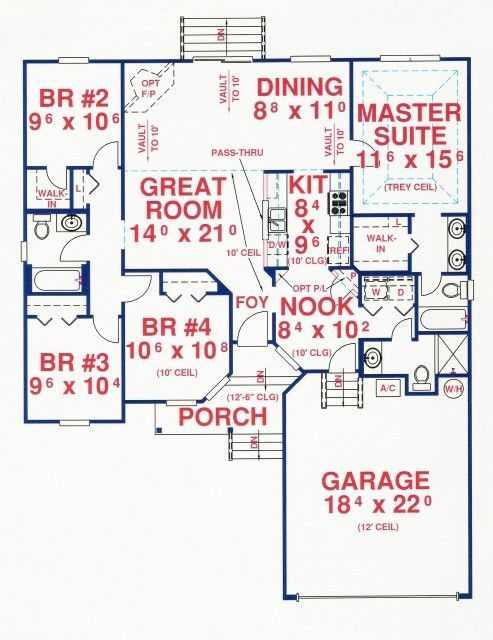 First Floor Plan Of House Plan 53172