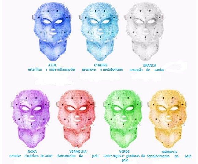 Mascara De Led 7 Cores Para Tratamento De Rosto E Pescoço Tratamento Para O Rosto Rosto Led