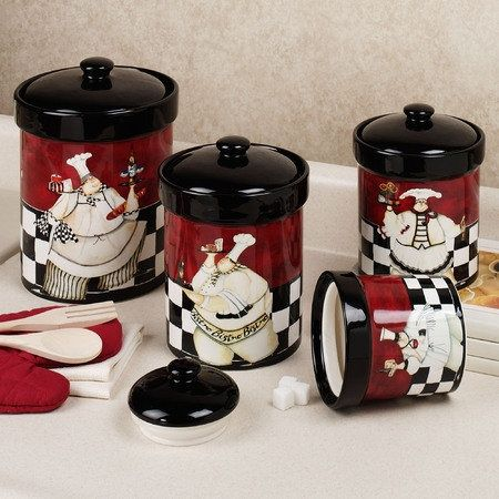 Chef De Cuisine Canister Set Multi Warm Set Of Four Chef Kitchen Decorkitchen