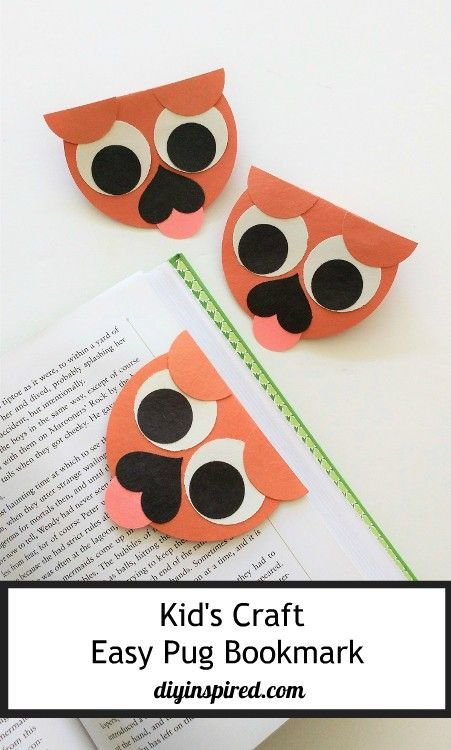 How cute is this kid's pug bookmark from DIY Inspired? Click in for the simple step-by-step instructions and supply list. No printable needed!
