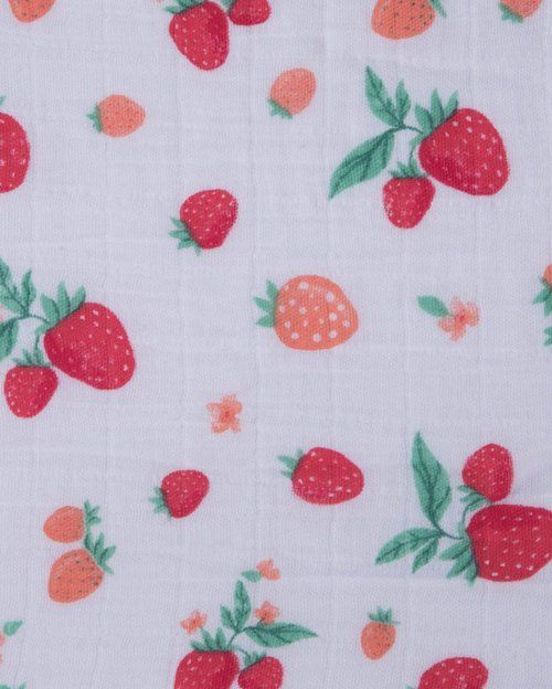 Muslin Fitted Crib Sheet, Strawberry