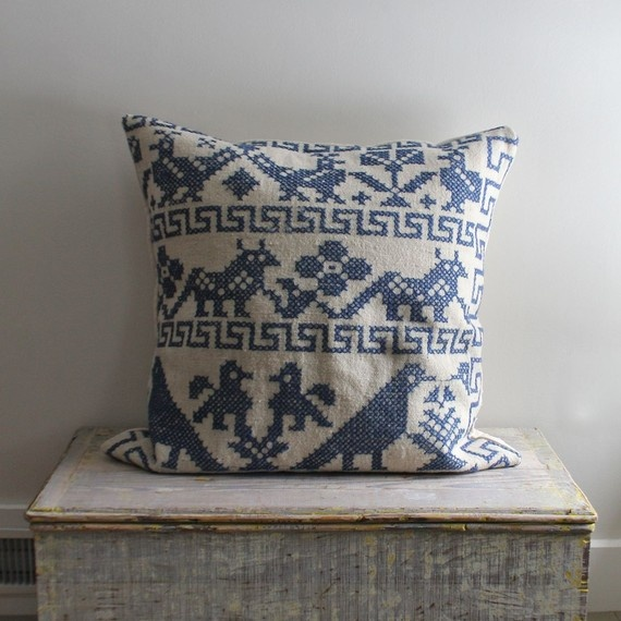 love love love. vintage cross stitched floor cushion on ethanollie's etsy shop.