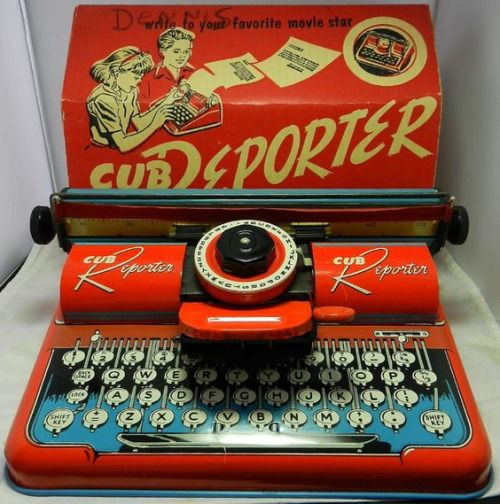 1950s Cub Reporter Metal Litho Typewriter. Made by the T. Cohn Toy Company.The grandson of T. Cohn,Harold von Braunhut, was the creator of Sea Monkeys and X-Ray Specs.