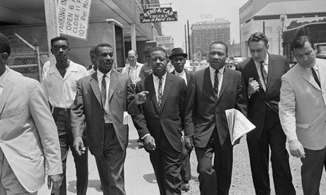 Fred Shuttlesworth (centre left) with Ralph Abernathy and Martin Luther King in Birmingham, Alabama, in May 1963.