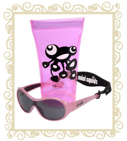 On sale! http://www.buttonbaby.com.au/mini-squids-sunglasses-light-pink-p-1854.html  Mini Squids are an Australian designed aquatic range of sunglasses for babies and toddlers aged 6 months to 3 years. They are designed to wrap snugly around small faces and provide maximum protection for little peepers.Dimensions:10.5cm (Front) x 10.0cm (Temple) x 3.6cm (Lens).Mini SQUIDS Sunglasses features:  *  Mini SQUIDS provide 100% UV protection (UV 400) and comply with the Australian Standards AS/NZS