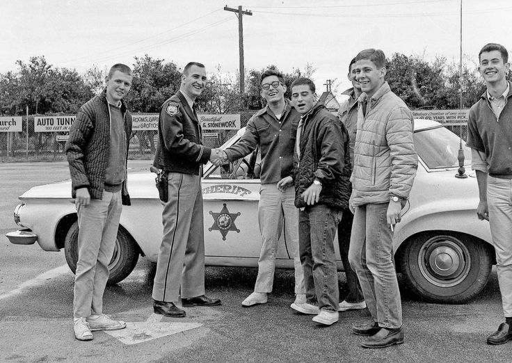 """jeanfivintage: """" Encounter with the Law — 23 March 1963 While out horsing around on a overcast Fresno morning the Fresno County Sheriff's units stopped to check out our """"suspicious"""" activities. All..."""