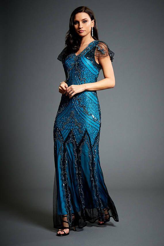 20er jahre kleid blau