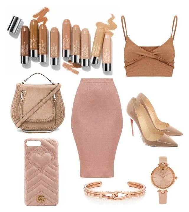 shades of nudes by chiara30stm on Polyvore featuring polyvore fashion style Christian Louboutin Rebecca Minkoff Kate Spade Gucci Olsen clothing