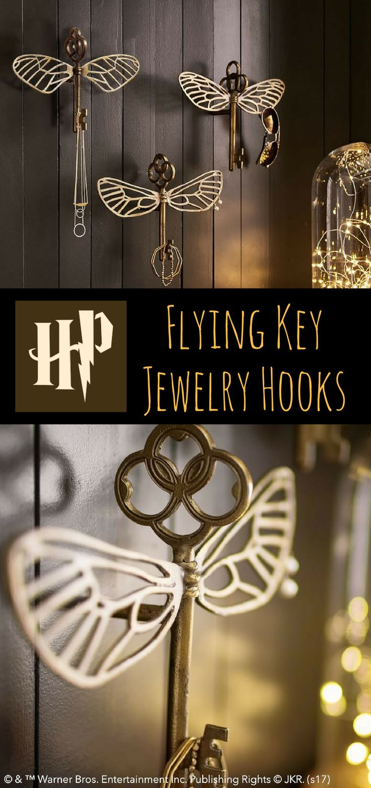 Ooo! I can imagine Luna decorating with flying keys as jewelry hooks! Perfect for the Luna in my life.  #ad #affiliate #harrypotter #harrypotterfan #flyingkey #harrypotterybarn #oybpinners #harrypotterdecor #decoration #jewelryhooks #giftideas