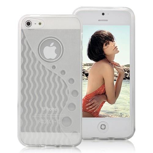 Stylish Wave-like Pattern Matte TPU Case For iPhone 5 - Transparent White