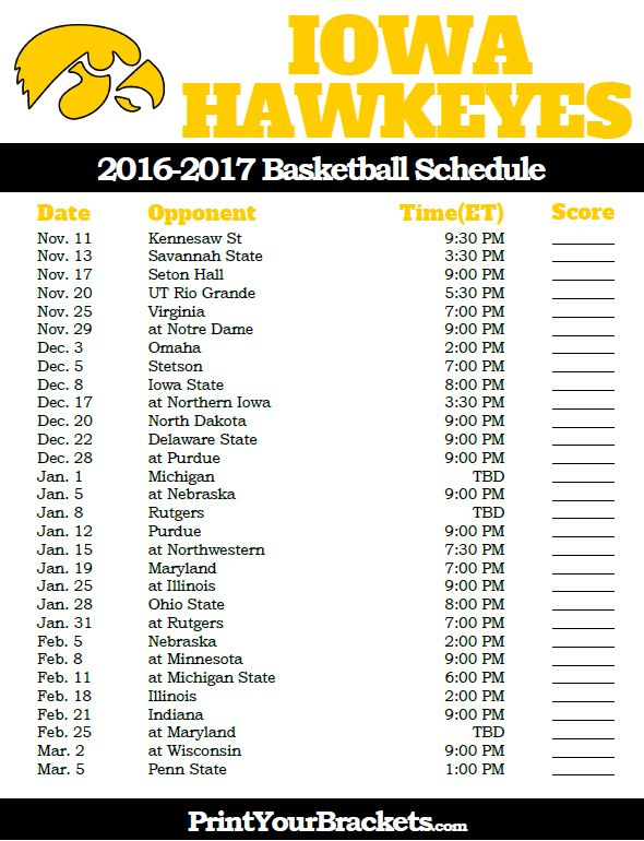 Iowa Hawkeyes 2016-2017 College Basketball Schedule