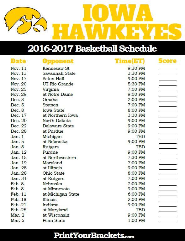 Iowa Hawkeyes 2016-2017 College Basketball Schedule