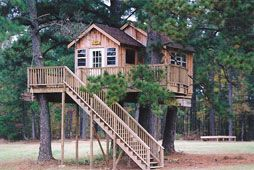 Northern Louisianna-Spring 1999  Donated by a philanthropist and longstanding Boy Scout supporter for troops to have spectacular cabins to enjoy. After initially building the treehouses, we returned to build connecting bridges with our bridge building friends from Sahalle. We are excited to see our work being shared by kids from all over the country!