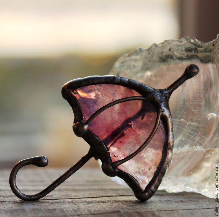 """Купить Брошь """"Розовый зонтик"""" стекло - розовый, брошь, стеклянная брошь, витражная брошь"""