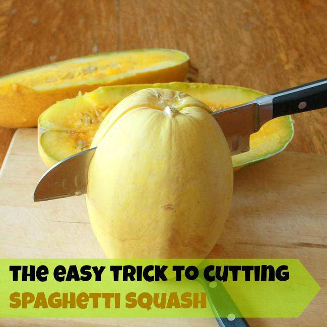 The TRICK to cutting SPAGHETTI SQUASH + Lasagna Stuffed Spaghetti Squash | TeaspoonOfSpice.com