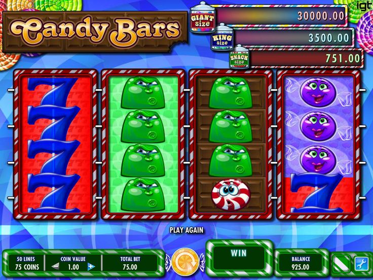 Candy Bars - http://freeslots77.com/candy-bars/ - Candy Bars is a colorful and sweet online casino slot game by IGT. This 4 reel slot is all about candies where you can make winning combinations using its 50 paylines. 2 gumball are the wild symbol of the game that can appear on the reels, 2 and 3, replace other symbols in a win line by paying...