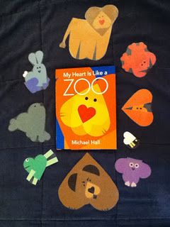 My Heart is Like a Zoo by Michael Hall - awesome book, and someone actually took the ideas in the book and used them, awesome, awesome, awesome!  I personally think this book would be great to read and then do a craft based off an animal or two from the book in honor of some sort of animal holiday . . . such as July being touted as Wild About Animals Month.