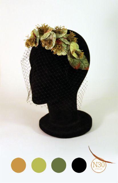 Tocado de flores de terciopelo y plumas. www.n30atelier.es