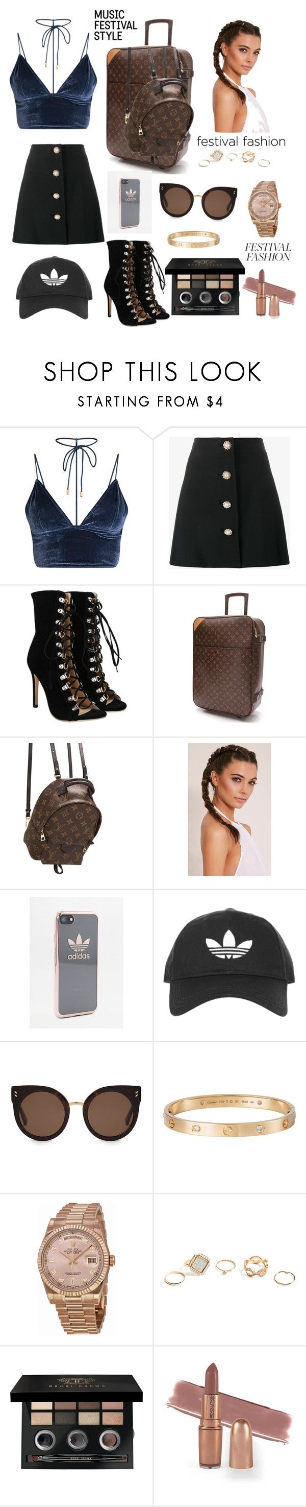 """""""Coachella 2017"""" by maxtonbez ❤ liked on Polyvore featuring Miu Miu, Louis Vuitton, adidas, Topshop, STELLA McCARTNEY, Cartier, Rolex, GUESS and Bobbi Brown Cosmetics"""